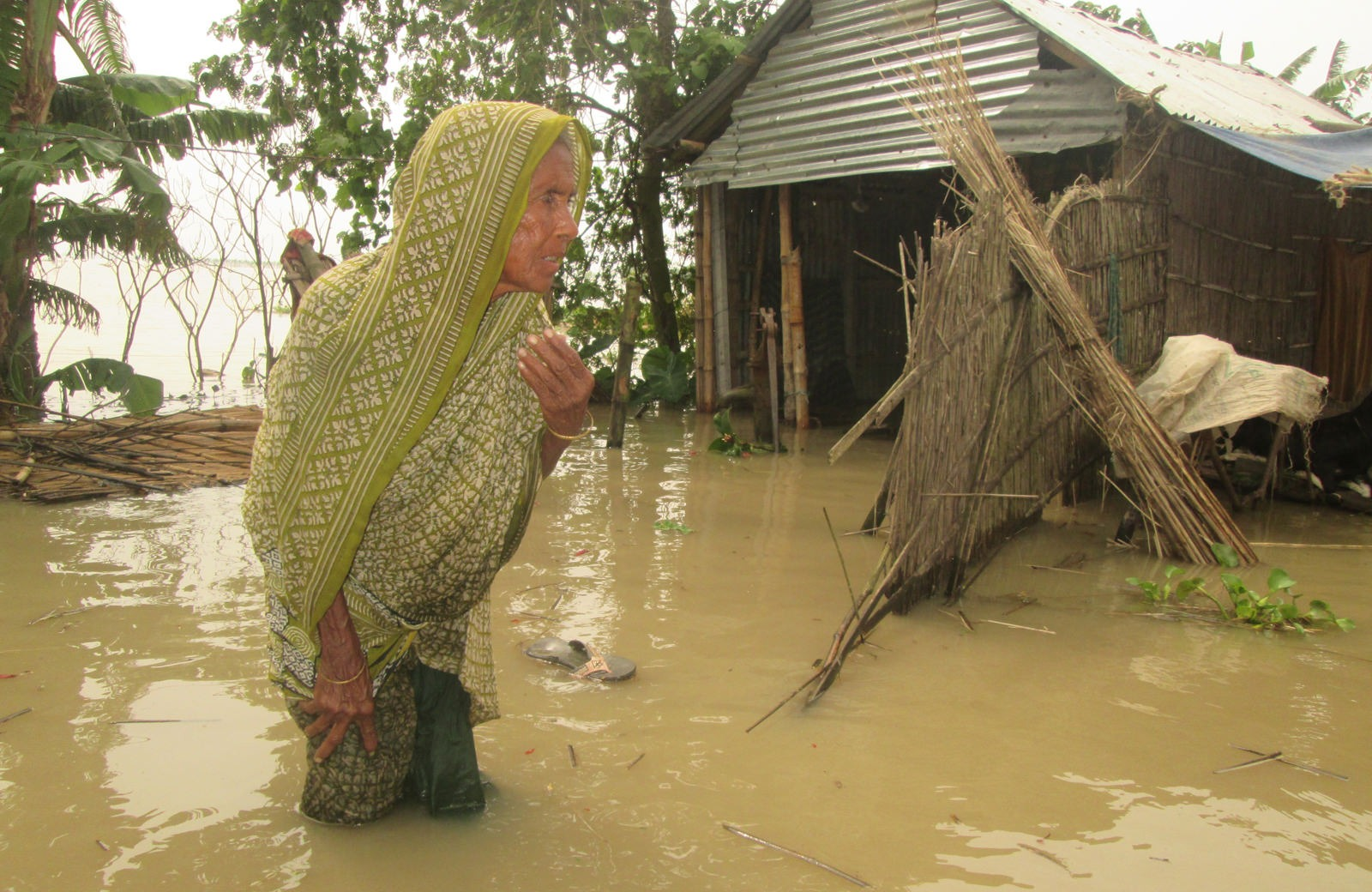 An elderly woman amidst flooding which hit the region in 2017